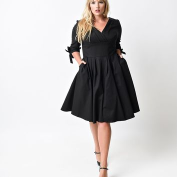 Unique Vintage Plus Size 1950s Style Black Three-Quarter Sleeve Diana Swing Dress