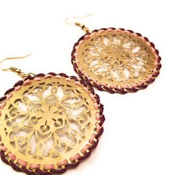 Filigree Muted Gold-tone Drop Disc Earrings 1.75""