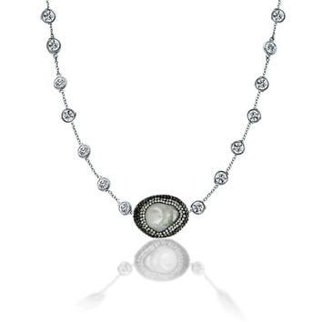 Handcrafted Diamond By the Yard chain necklace featuring a centered mother of pearl pendant circled by black and clear crystal stones BZBYXN543