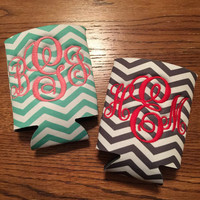 Custom Initial Monogram Koozie in Southern Prep Inspired Chevron Personalized Sorority Gifts
