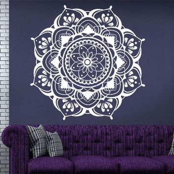 Mandala Wall Decals Mehndi Decal Bohemian Vinyl Sticker Bedroom Boho Removable Flower Mandala Wall Decal