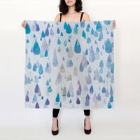 "100% SILK SCARF - Happy Rain Drops in shades of blue, purple, and green available in two sizes - 26""x26"" or 36""x36"" - Great Gift!"