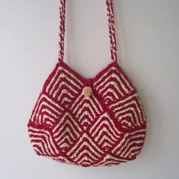 Red Cream Knit Purse, Lined Tote, Red Bag, Artisan Boho Bag, Handspun Knitted Bag, Red & Cream Tote, Knit Shoulder Purse, Two Cord Handles