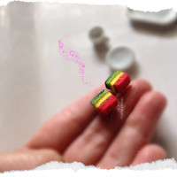 Italian Rainbow Cookies, collectible mini doll food earrings , hand sculpted polymer clay