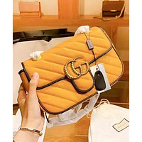 GUCCI New fashion leather shoulder bag women Yellow