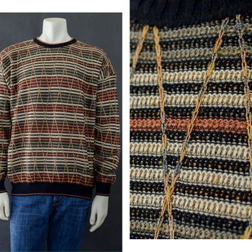 Vintage Tundra Crewneck Sweater, 90s Cosby Sweater, Coogi Style Pull Over Sweater, Stripped Multi Color Sweater,  Men's Size Extra Large