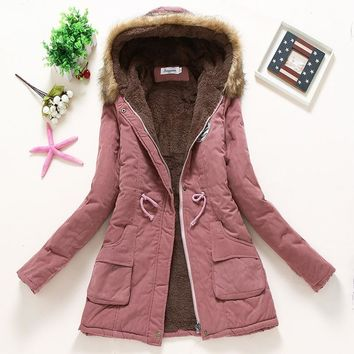 women winter jackets female coat cotton parka hooded Solid 11 color warm calibration long sleeved lamb clothing hot AE-199