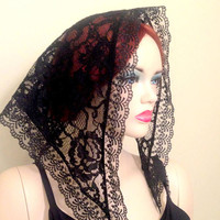Traditional veil Black Chapel Veil Triangle Veil Mantilla Chapel Catholic Veils Mass Veil