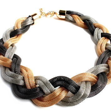 """Braid Me Beautiful"" Tri Color Statement Necklace"