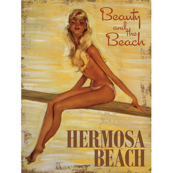 Personalized Hermosa Beach Beauty Wood Sign