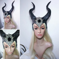 Horned dragon fantasy Enchantress maleficent onyx  horns headdress headpiece fantasy halloween photo accessory carnival cosplay costume