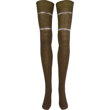 Hand Tie-Dyed Over The Knee Socks in Brown
