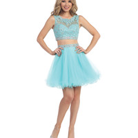 Aqua Two Piece Lace & Chiffon Dress 2015 Homecoming Dresses