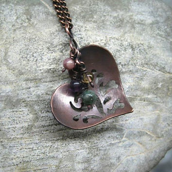 Heart  pendant  / Optional minerals / gift earrings / with chain / healing gemstones / Handmade Wire wrapped jewelry