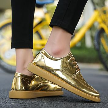 GNOME New Gold Leather Casual Men Shoes Bling Man's Footwear Breathable Lace Up Sneakers Shoes For Male Glitter Drive Shoes