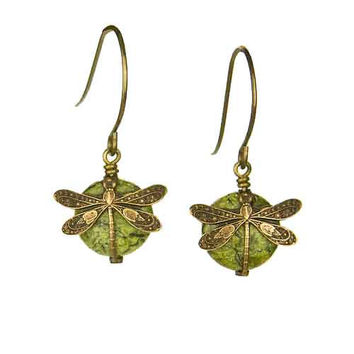 Dragonfly Earrings in Vintage Natural Brass with 10mm Serpentine Stone