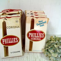 Cigar Boxes Collection of 8 Phillies Corona Small Pocket Size Cigar Boxes with Gold & Red Graphics - Boxes for Arts Display Projects Storage
