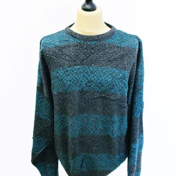 Vintage 1980s Jantzen Striped Green Grey Jumper Sweater XL