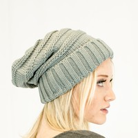 Unisex Soft Stretch Oversized Knit Slouchy Beanie (Natural Grey)