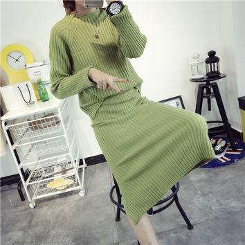 Long Sleeve Autumn Women's Fashion Korean Knit Tops Pullover One Piece Dress [8422524609]