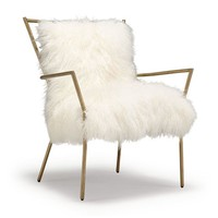 ANSEL CHAIR BRASS -TIBETAN FUR[ available online ]