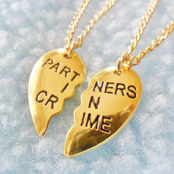 Gold Half Heart Locket Partners In Crime Best Friend Friendship Pendant Necklace Jewellery Jewelry