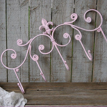 Wall Hook, Cast Iron, Coat, Towel, Beach, Necklace, Shabby Chic, Pink, Hand Painted, Metal, French Decor, Coat, Purse, Hanger, Fleur de Lis