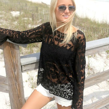 Fraser Island Black Lace Long Sleeve Top