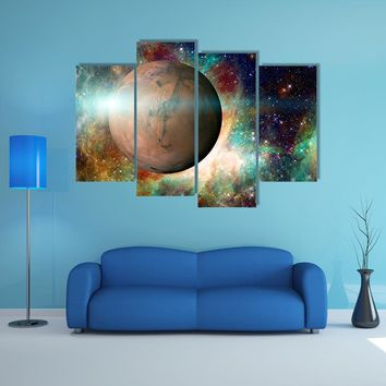 Planet Mars In Solar System Multi Panel Canvas Wall Art