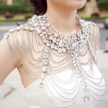 DCCKDV3 Bride shoulder chain crystal shawl chain necklace wedding set chain