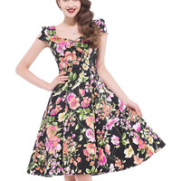 2017 New Style Women Flower Print robe Rockabilly dresses vestidos Retro Vintage 50s plus size clothing floral Summer Party Gown