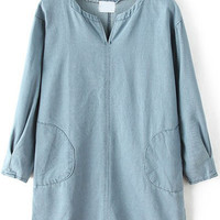 Light Blue V-Neckline Denim Shirt Dress