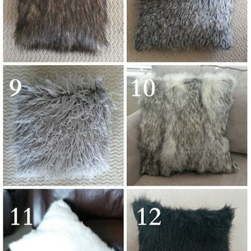 plush faux fur pillow sofa pillow throw pillow stuffed many colors and sizes