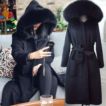 2017 autumn winter women woolen coat outerwear female big fur collar long trench casual warm jacket with belt 101001
