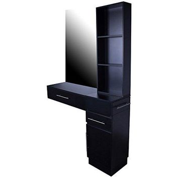 """Icarus """"Irvine"""" Black Single Drawer Wall Mount Beauty Salon Hair Styling Station With Cabinet"""