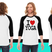 i love yoga American Apparel Unisex 3/4 Sleeve T-Shirt