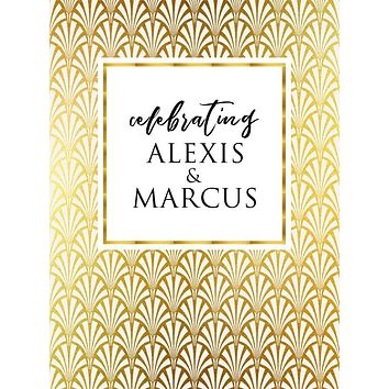 Custom Gatsby Inspired Gold Pattern Wedding Backdrop (Any Color) Background - C0278