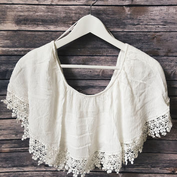 Crochet Trim Off The Shoulder Top (Ivory)