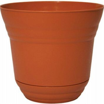 "Robert Allen PIM01196 Traverse Planter with Attached Saucer, 5"", Tango Orange"