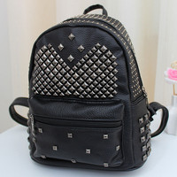 Black Preppy Style Studded Backpack