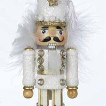 Christmas Ornament - White Glittered Nutcracker