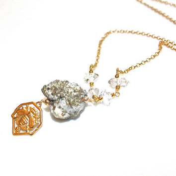 Gold Pyrite Necklace Quartz Druzy Necklace Pyrite In Quartz Jewelry Bee Necklace Herkimer Diamond Necklace Rough Druzy Jewelry Drusy Jewelry