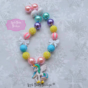 Princess Celestia Chunky Necklace My Little Pony Chunky necklace Celestia Bubblegum Necklace Pony Bubblegum Necklace Little Pony Necklace