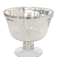 "Mercury Glass Pedestal Vase in Silver5.5"" Tall x 6"" Diameter"