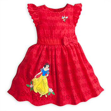Snow White Woven Eyelet Dress For Girls