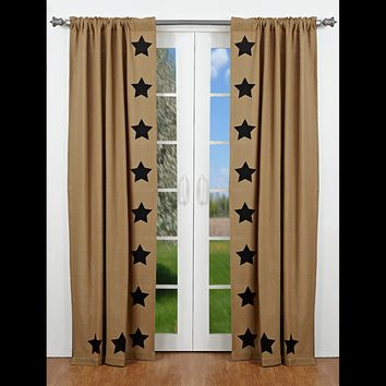 Burlap with Black Stars Panel Curtains