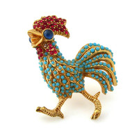 CINER Rooster Brooch / Signed Rhinestone Bird Figural Pin / Vintage Costume Jewelry