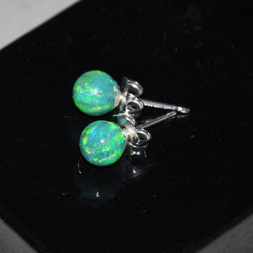 6mm Ball Stud Post earrings, Green Earrings,Opal Earrings, Sterling Silver Earrings,  Australian Opal, 925 Sterling Silver