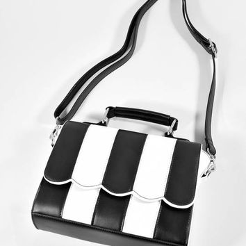 Lola Ramona Black & Ivory Stripe Stella Perfect Handbag