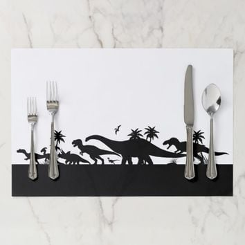 Dinosaur Silhouettes Paper Placemat